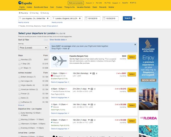expedia flight results