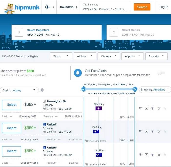 hipmunk flight results