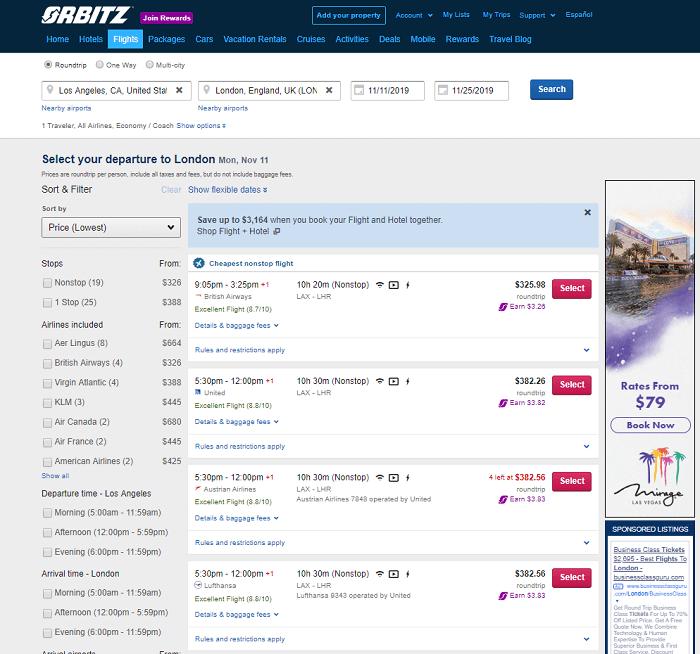 orbitz flights results