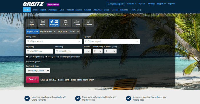 orbitz flights search